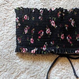 Xhilaration Swim - Xhilaration floral smocked bandeau bikini top NWOT